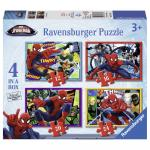 Puzzle Spiderman 4 buc in cutie 12/16/20/24 piese