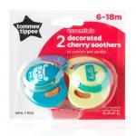 Suzeta Basics latex Tommee Tippee Cherry 2 buc 6-18 luni Albastru/Galben
