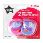 Suzeta Basics latex Tommee Tippee Cherry 2 buc 6-18 luni Roz/Mov