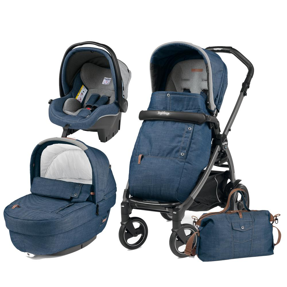 Carucior 3 In 1 Peg Perego Book Plus 51 Black Completo Elite Urban Denim