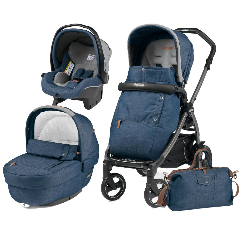 Carucior 3 In 1 Peg Perego Book Plus 51 S Black Completo Elite Urban Denim