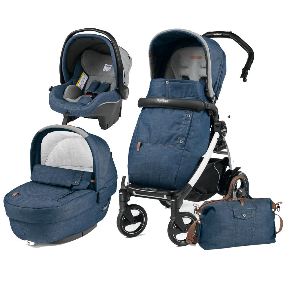 Carucior 3 In 1 Peg Perego Book Plus S BlackWhite Completo Elite Urban Denim