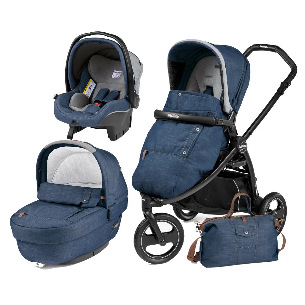 Carucior 3 In 1 Peg Perego Book Scout Matt Black Elite Modular Urban Denim