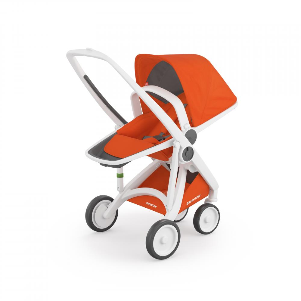 Carucior Reversible 100 Ecologic White Orange imagine