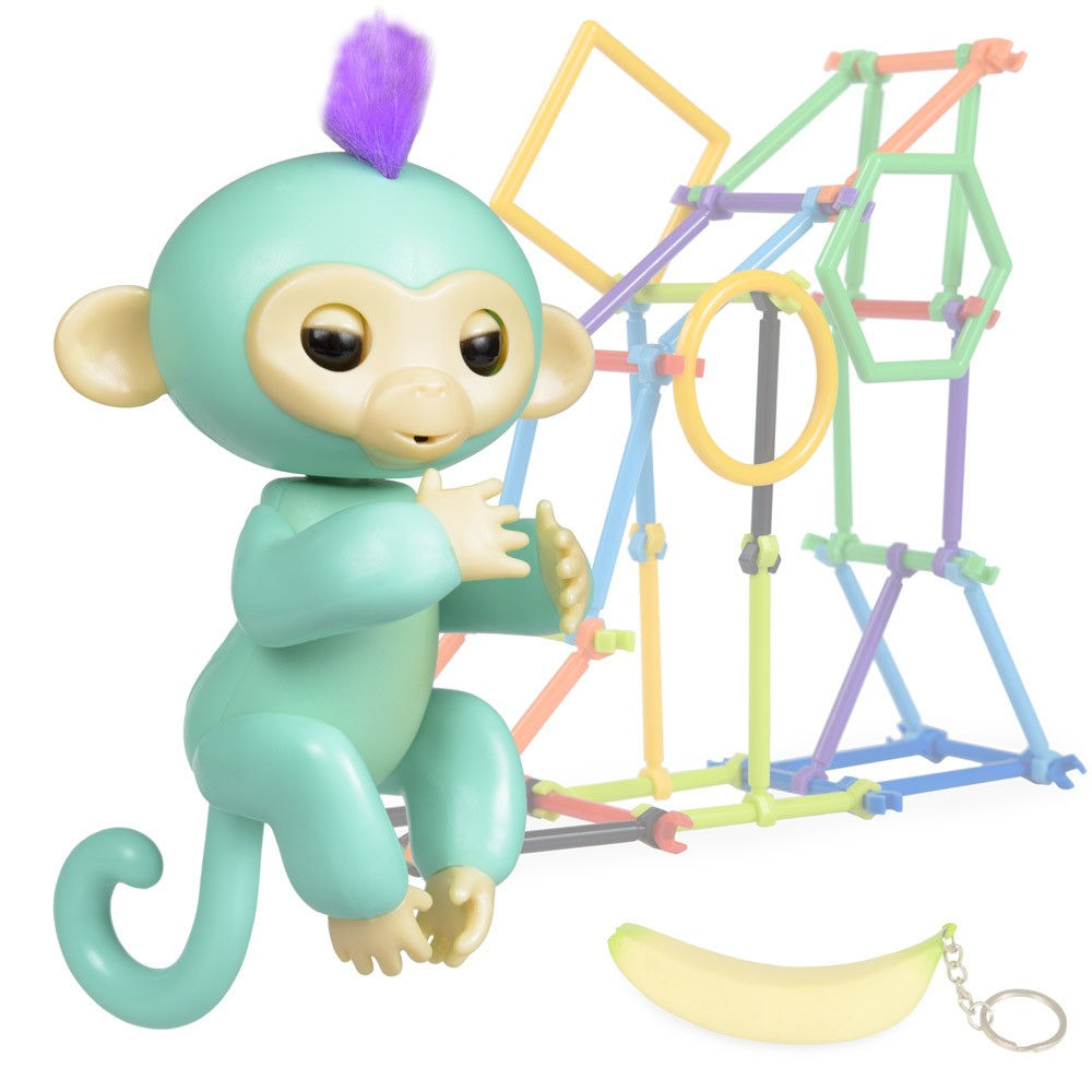Jucarie interactiva Happy Finger Monkey Blue