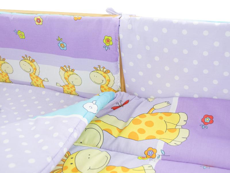 Lenjerie Happy Giraffe mov 4+1 piese 140x70