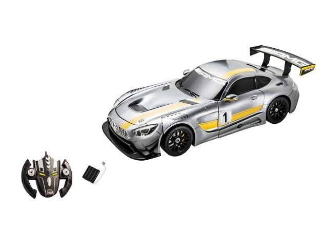 Masinuta cu telecomanda 2 in 1 transformabila in robot Mercedes AMG GT3 Gri Mondo 634201 cu acumulator inclus scara 1:14