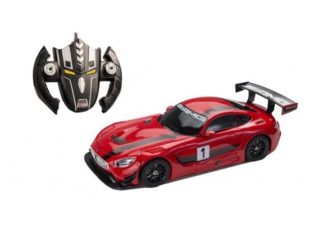 Masinuta cu telecomanda 2 in 1 transformabila in robot Mercedes AMG GT3 Rosu Mondo 634202 cu acumulator inclus scara 1:14