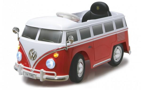 Masinuta electrica pentru copii Volkswagen Bus T1 Jamara 460234 rosu cu alb si control parental 27mhz 12V