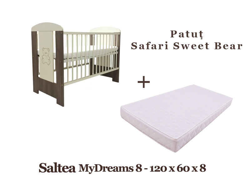 Patut copii Klups Safari Sweet Bear + Saltea MyDreams 8