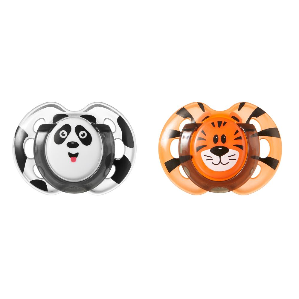 Suzete de zi Fun Tommee Tippee 0-6 Luni 2 buc Panda-Tigru