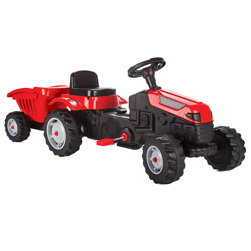 Tractor cu pedale si remorca Active Red