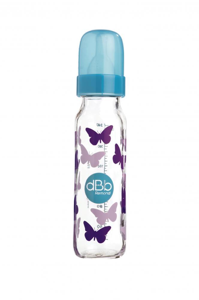 Biberon sticla decorat Papillons 240 ml tetina silicon NN 0-4 luni turcoaz