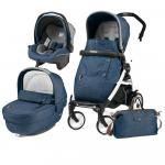 Carucior 3 In 1 Peg Perego Book Plus 51 Black&White Completo Elite Urban Denim