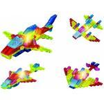 Set constructie Cubix, piese transparente cu LED, model 4 in 1, 66 piese