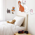 Sticker decorativ Pisicute aristocrate 90 x 69 cm