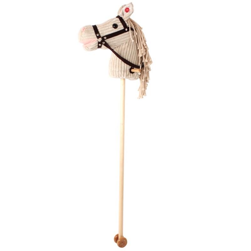 Calut alb de calarit din lemn cu roti si sunet