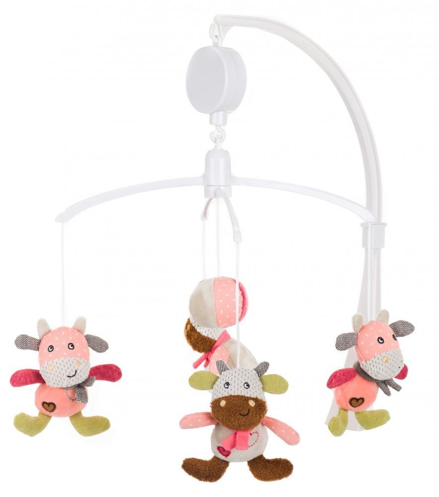 Carusel muzical cu cheita vacuta roz