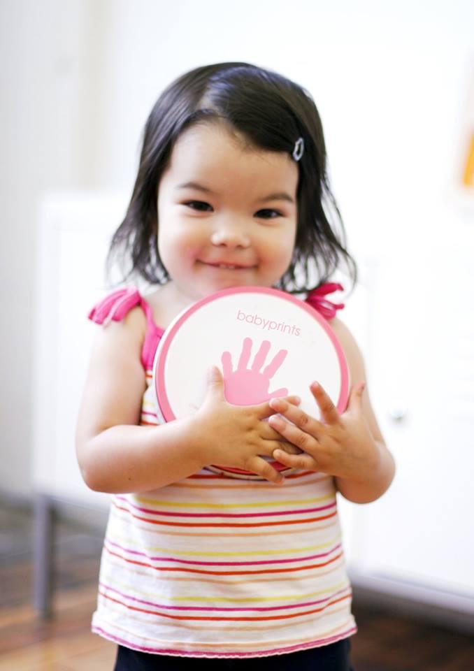 Cutie metalica pentru mulajul amprentei bebelusului Dusty Pink