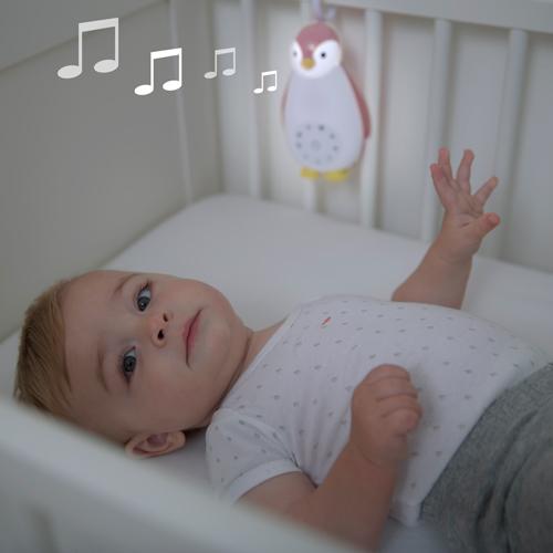 Jucarie muzicala si lampa de veghe Zoe gri