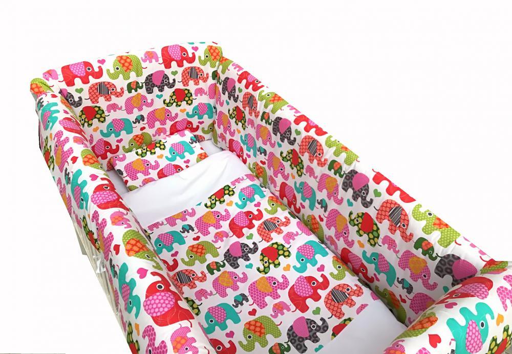 Lenjerie de pat Maxi Elefantei roz 120x60 cm