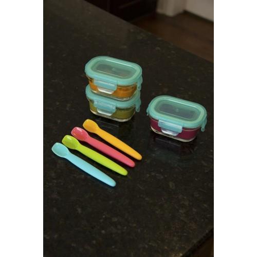 Lingurita din silicon + cutie Din Din Smart Spoon Green