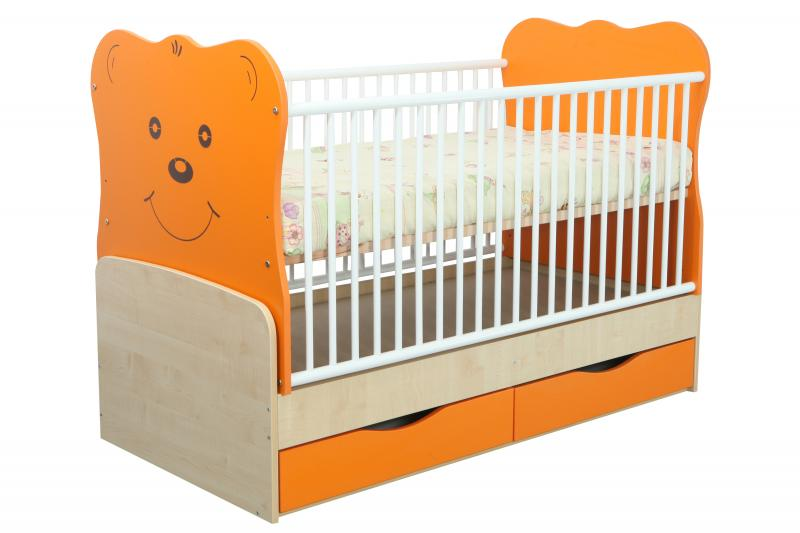 Patut transformabil Teddy Natur-Orange cu leg 4837