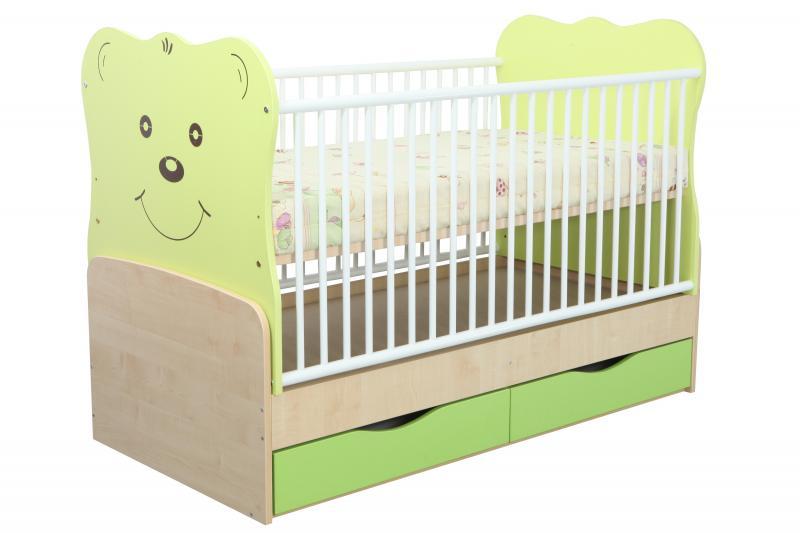 Patut Ttansformabil Teddy Natur-Verde Deschis cu leg 4836