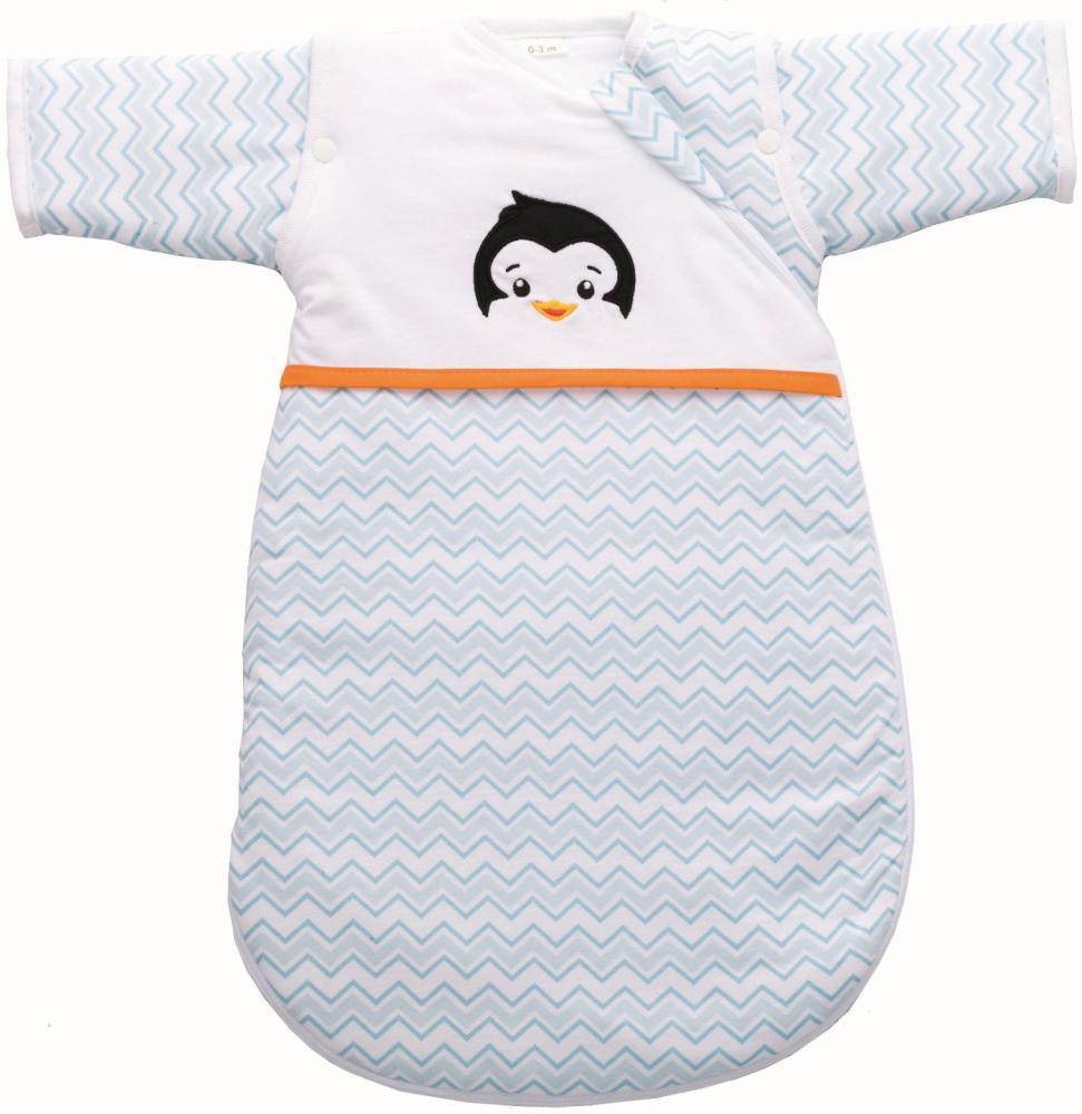 Sac de dormit cu maneca nou nascut 55 cm Pinguin Blue