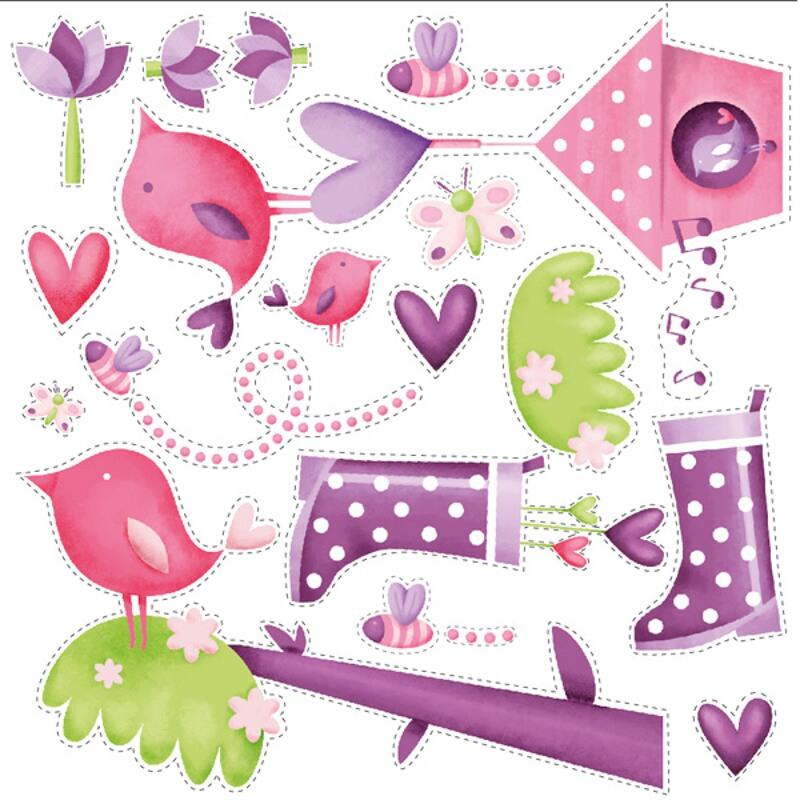Stickere pentru decorarea camerei fetitelor - Gradina fermecata