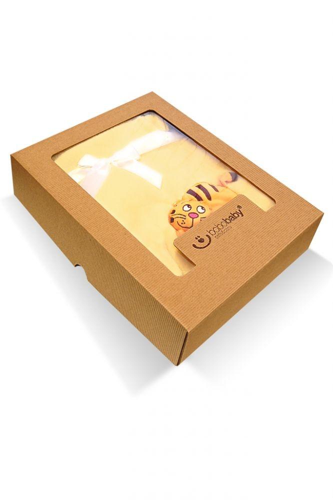 Paturica Microfibra cu aplicatii 3D in cutie cadou tigru galben