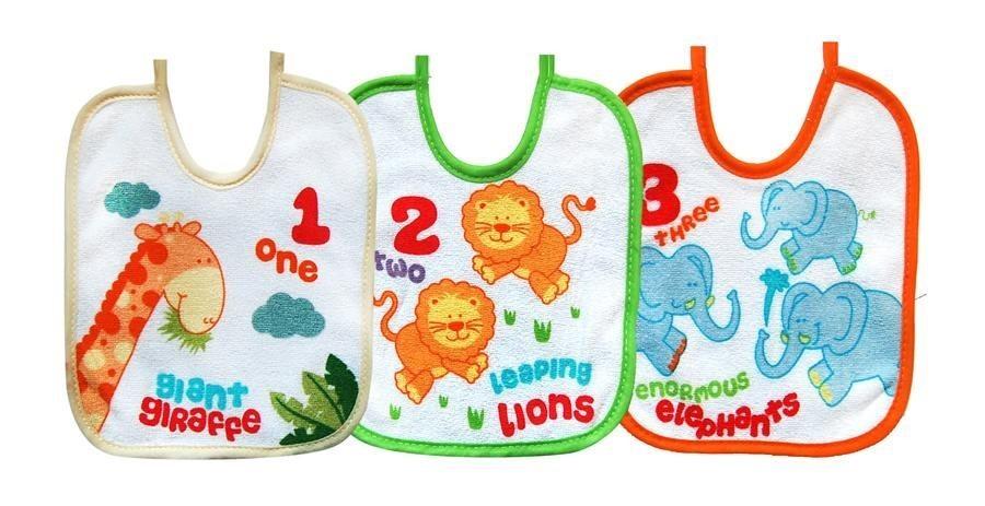 Set 3 bavete mici cu snur BoboBaby Girafa-Leu-Elefant