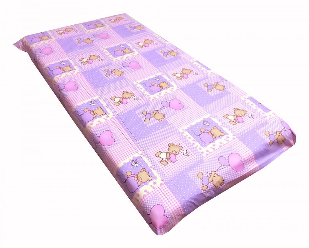 Cearsaf cu elastic pe colt 120x60 cm Ursuleti pe roz