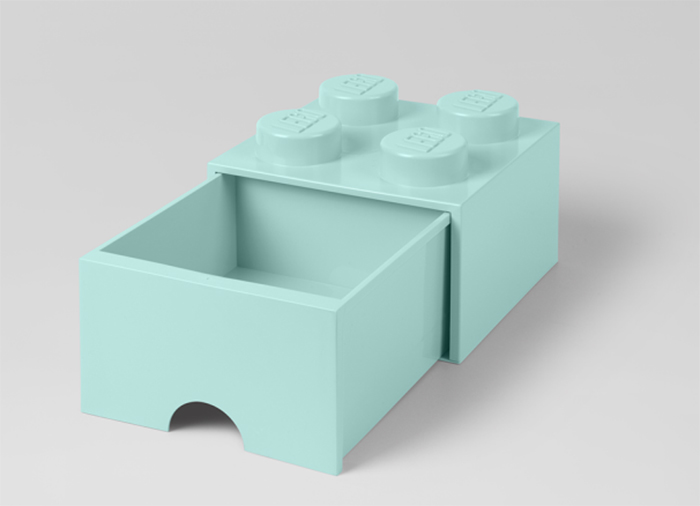 Cutie depozitare LEGO 2x2 cu sertar aqua