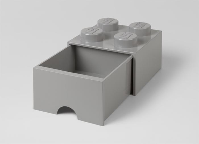Cutie depozitare LEGO 2x2 cu sertar gri