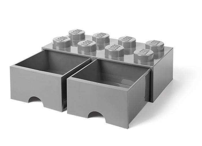 Cutie depozitare LEGO 2x4 cu sertare gri