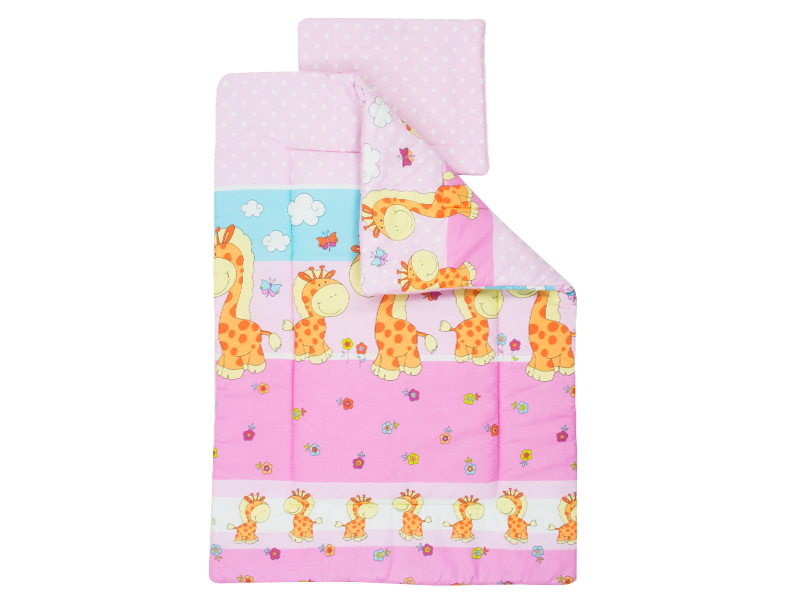 Lenjerie Happy Giraffe roz 4 piese 120x60