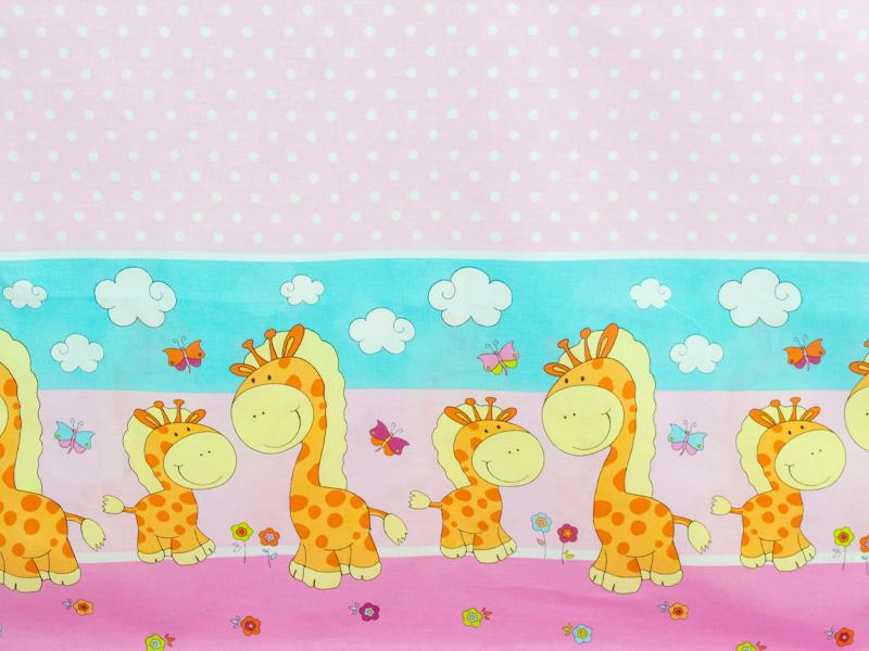 Lenjerie Happy Giraffe roz 5 piese 120x60 cm