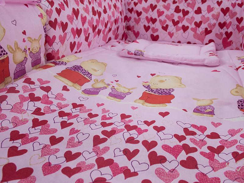 Lenjerie Teddy Inimioare Roz 4 piese 120x60