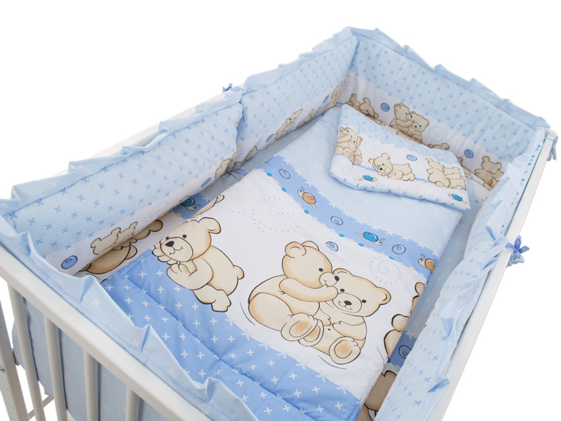 Lenjerie Teddy Friends Albastru 4+1 piese M2 140x70