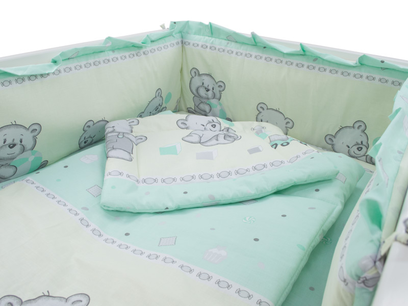 Lenjerie patut cu 4 piese 120x60cm Teddy Toys Turquoise 4 piese M1