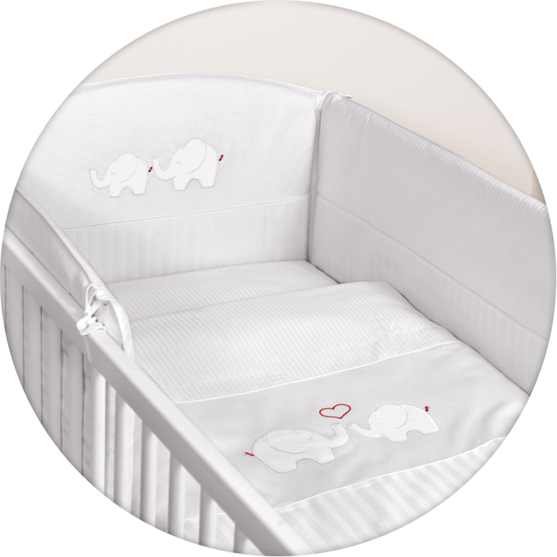 Lenjerie de pat cu 3 piese Elefantei alb