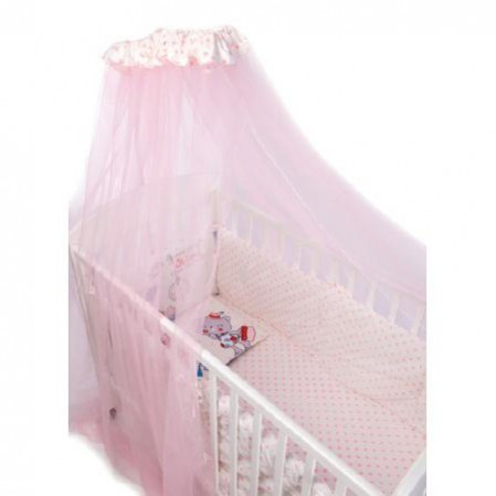 Lenjerie patut cu 7 piese si protectii laterale complete Pink Station 70x140 cm