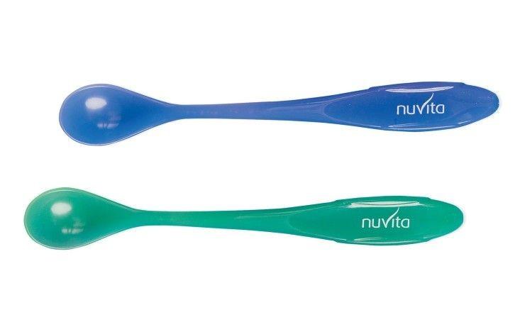 Set 2 lingurite termosensiblie Nuvita 1409 albastruverde
