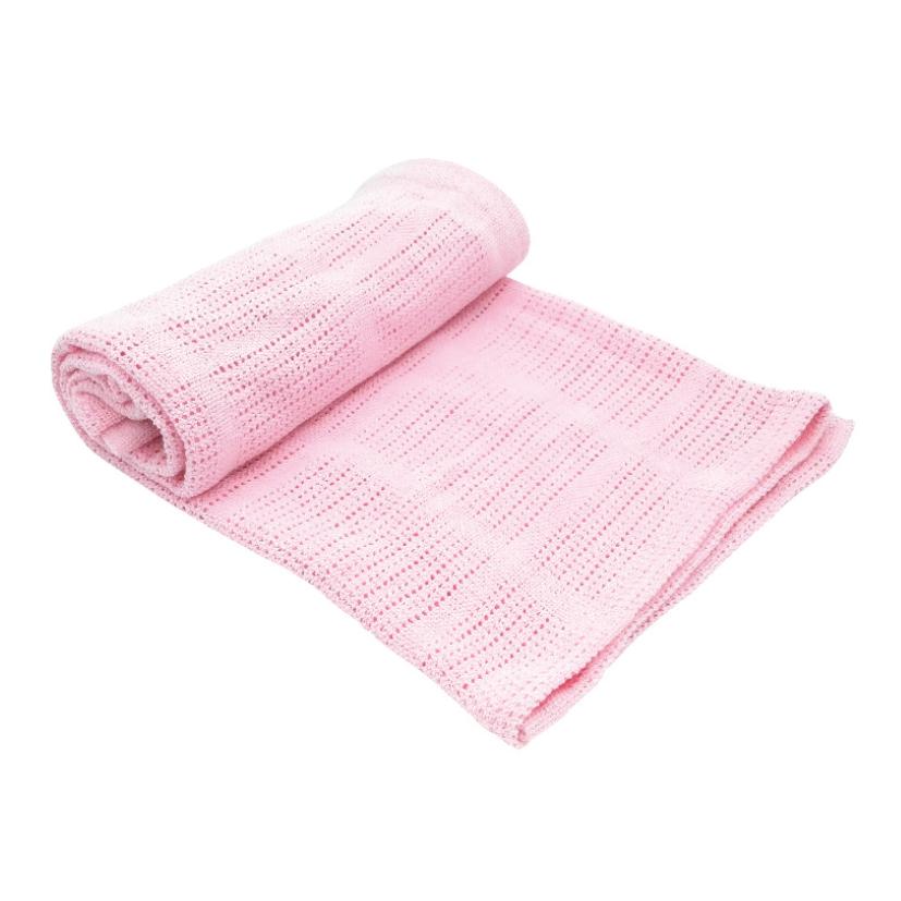 Paturica celulara din bumbac 70x100cm Pink