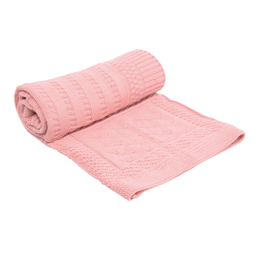 Paturica tricotata din bumbac Geometry Pink