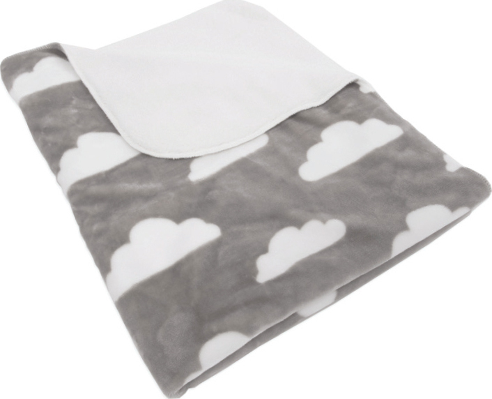 Paturica dubla Sherpa 80x100cm Clouds and Drops Gray