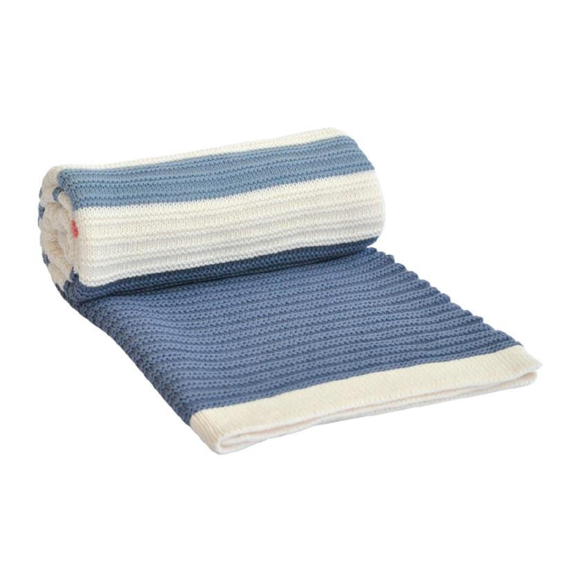 Paturica tricotata din bumbac Stripes Dark Blue-Red