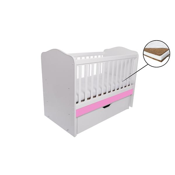 Patut Como balansoar alb cu roz + saltea cocos 7 cm