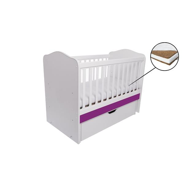 Patut Como balansoar alb cu violet + saltea cocos 7 cm